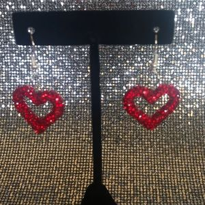 Stunning Rhinestone Crystal Red Heard Earrings